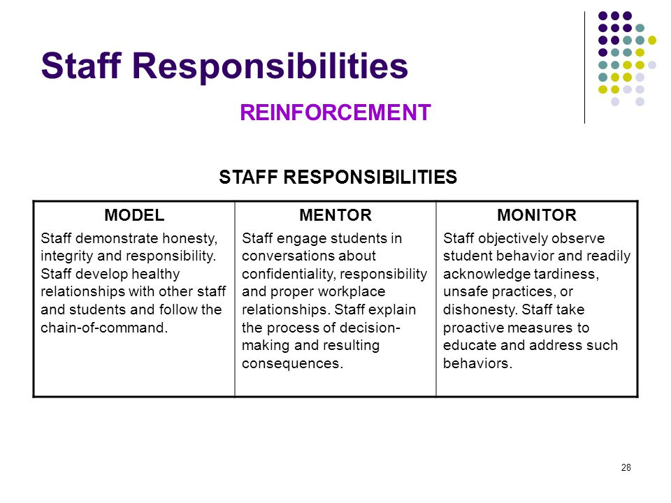 28 Staff Responsibilities REINFORCEMENT MODEL Staff demonstrate honesty, integrity and responsibility.