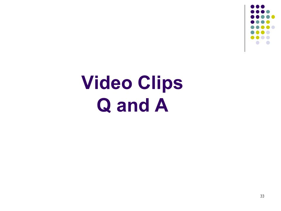 33 Video Clips Q and A