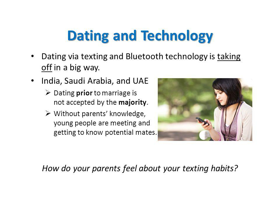 Dating and Technology Dating via texting and Bluetooth technology is taking off in a big way.