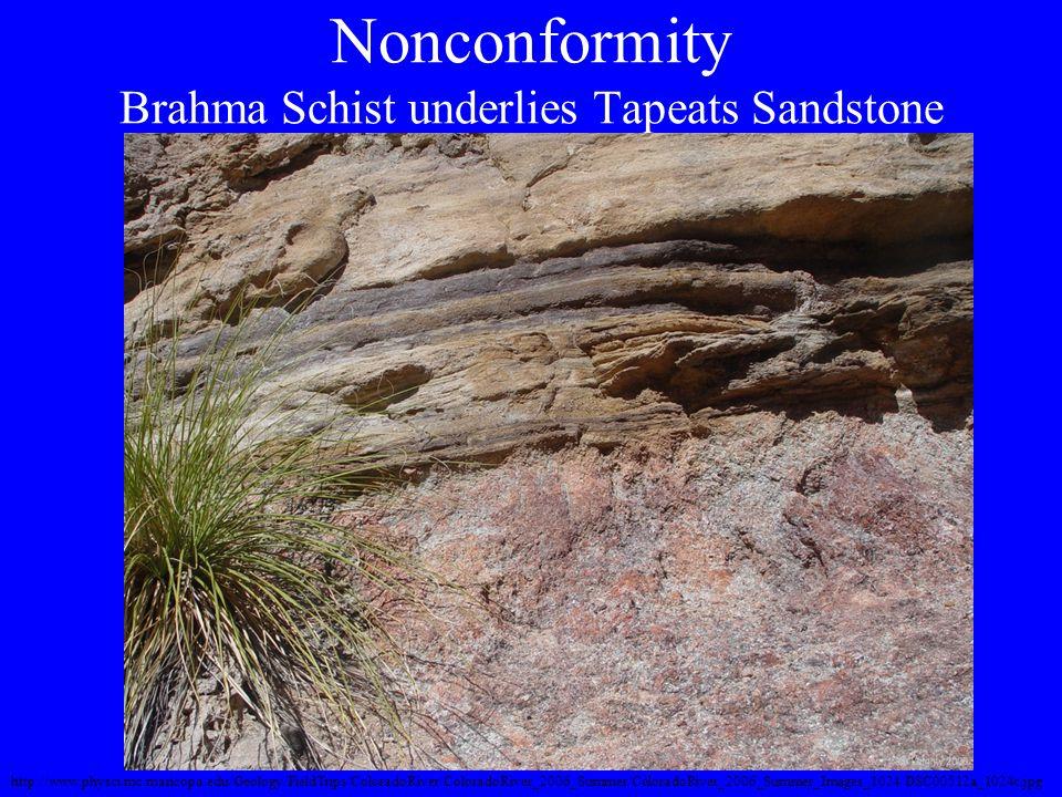 Nonconformity Brahma Schist underlies Tapeats Sandstone http://www.physci.mc.maricopa.edu/Geology/FieldTrips/ColoradoRiver/ColoradoRiver_2006_Summer/C