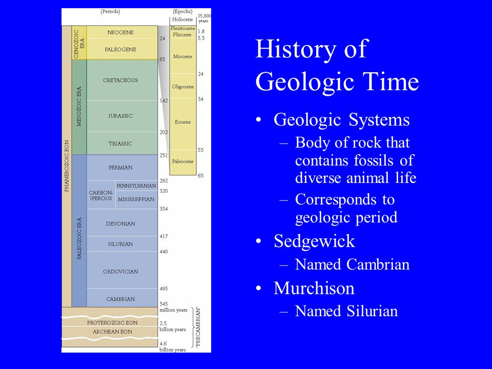 History of Geologic Time Geologic Systems –Body of rock that contains fossils of diverse animal life –Corresponds to geologic period Sedgewick –Named