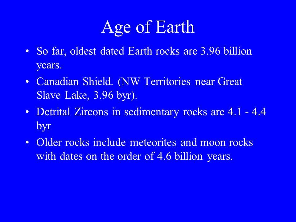 Age of Earth So far, oldest dated Earth rocks are 3.96 billion years. Canadian Shield. (NW Territories near Great Slave Lake, 3.96 byr). Detrital Zirc