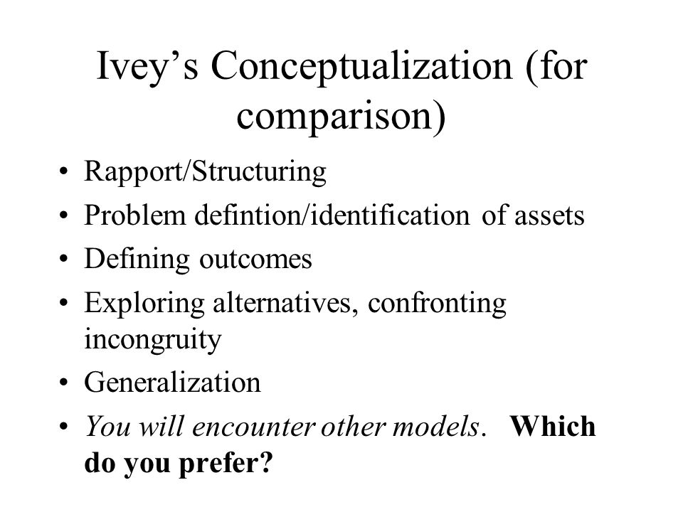 Iveys Conceptualization (for comparison) Rapport/Structuring Problem defintion/identification of assets Defining outcomes Exploring alternatives, conf