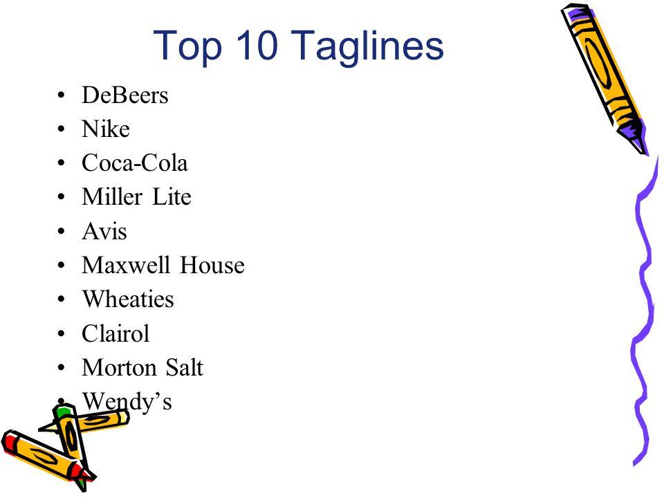 Top 10 Taglines DeBeers Nike Coca-Cola Miller Lite Avis Maxwell House Wheaties Clairol Morton Salt Wendys