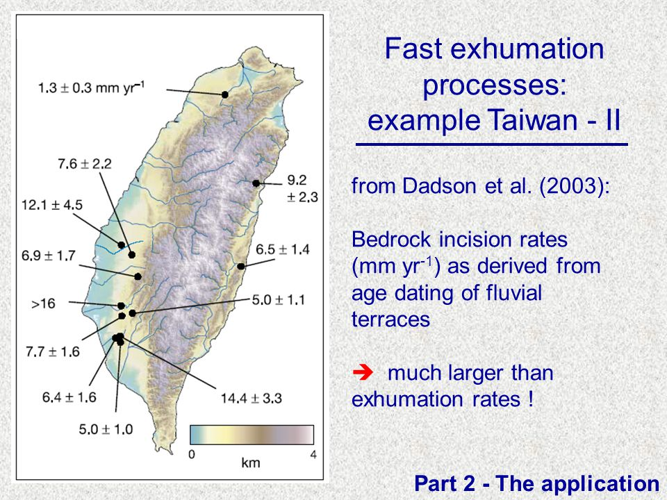 Fast exhumation processes: example Taiwan - II Part 2 - The application from Dadson et al. (2003): Bedrock incision rates (mm yr -1 ) as derived from
