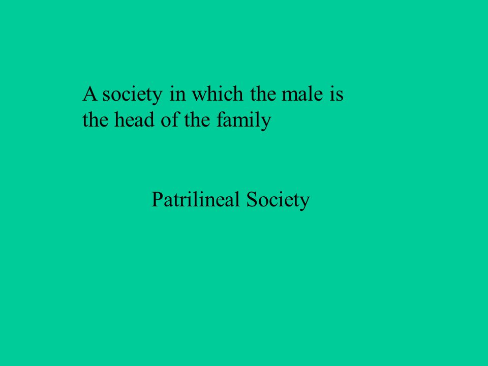 A society in which the male is the head of the family Patrilineal Society