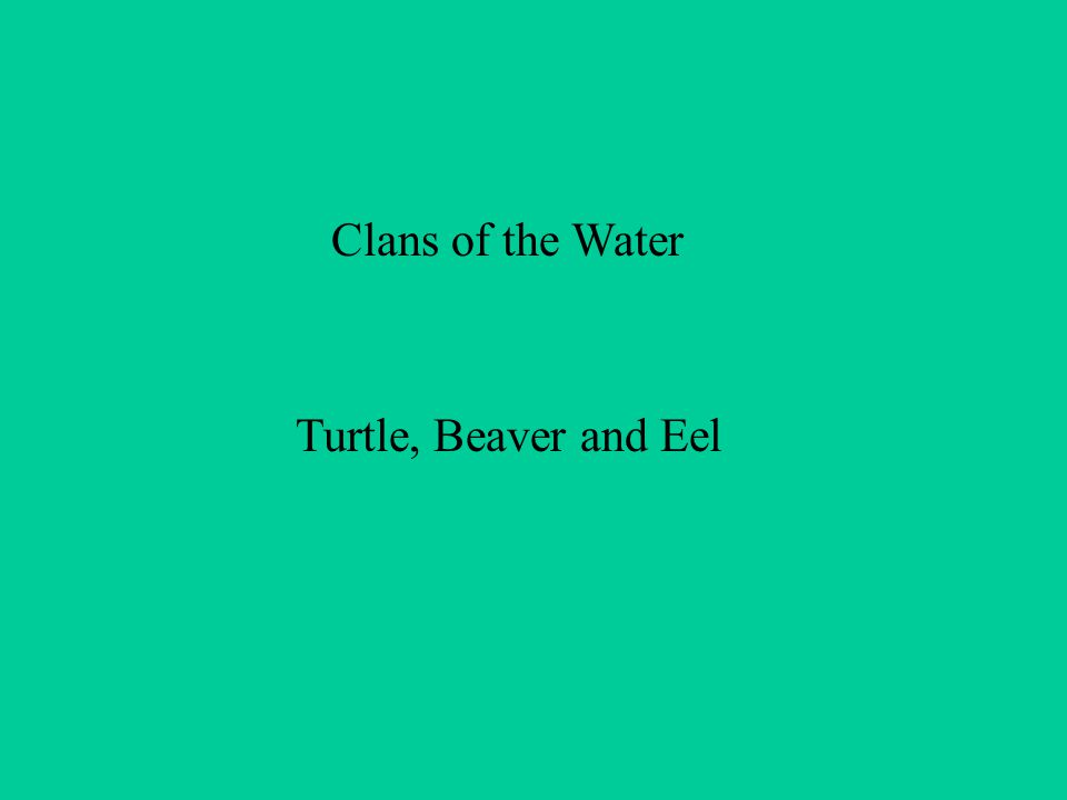 Clans of the Water Turtle, Beaver and Eel