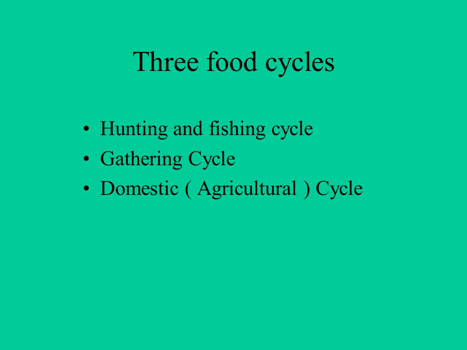 Three food cycles Hunting and fishing cycle Gathering Cycle Domestic ( Agricultural ) Cycle