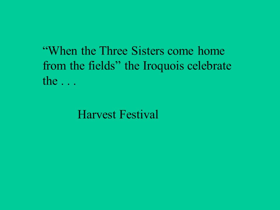 When the Three Sisters come home from the fields the Iroquois celebrate the... Harvest Festival
