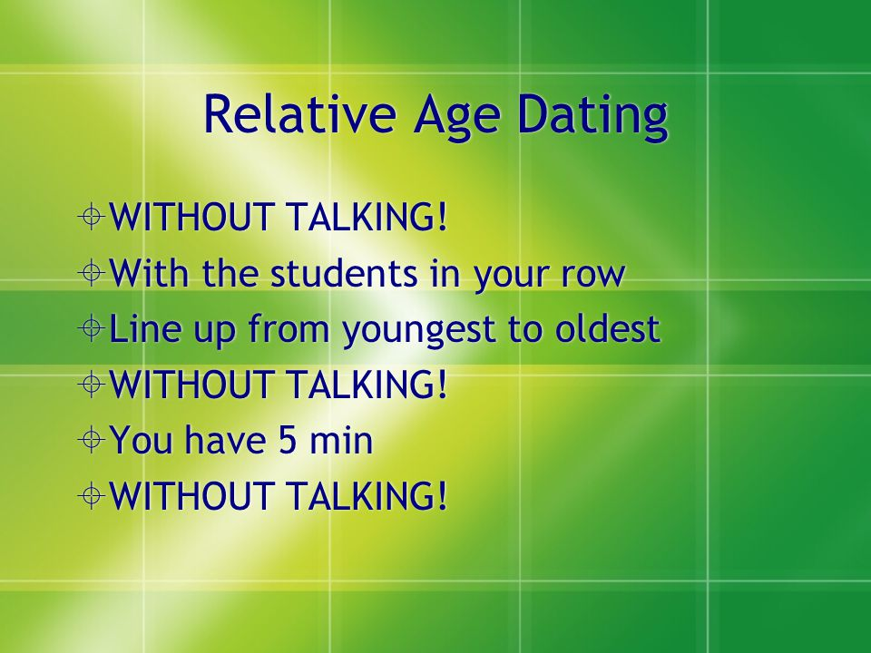 Relative Age Dating WITHOUT TALKING! With the students in your row Line up from youngest to oldest WITHOUT TALKING! You have 5 min WITHOUT TALKING! Wi