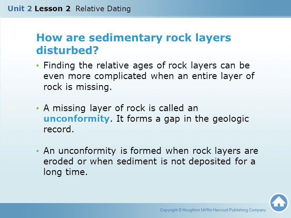 How are sedimentary rock layers disturbed? Finding the relative ages of rock layers can be even more complicated when an entire layer of rock is missi