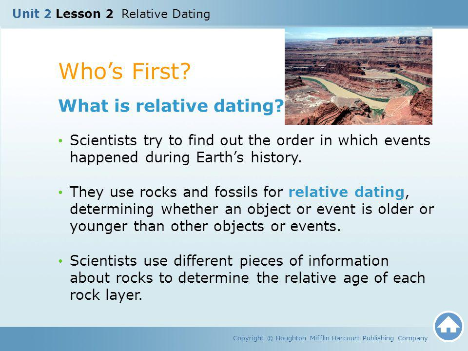 Whos First? Copyright © Houghton Mifflin Harcourt Publishing Company What is relative dating? Scientists try to find out the order in which events hap