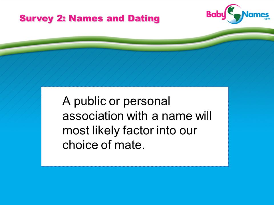 Survey 2: Names and Dating A public or personal association with a name will most likely factor into our choice of mate.