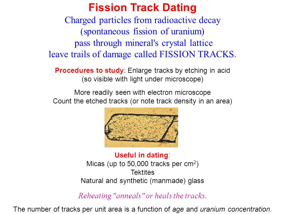 Fission Track Dating Charged particles from radioactive decay (spontaneous fission of uranium) pass through mineral's crystal lattice leave trails of