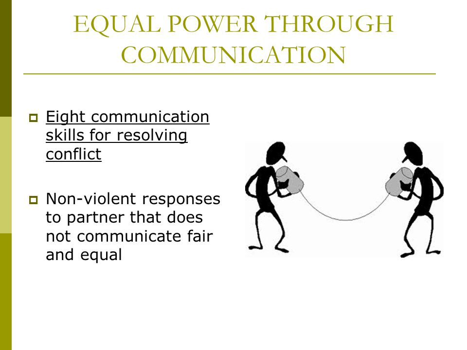 EQUAL POWER THROUGH COMMUNICATION Eight communication skills for resolving conflict Non-violent responses to partner that does not communicate fair an