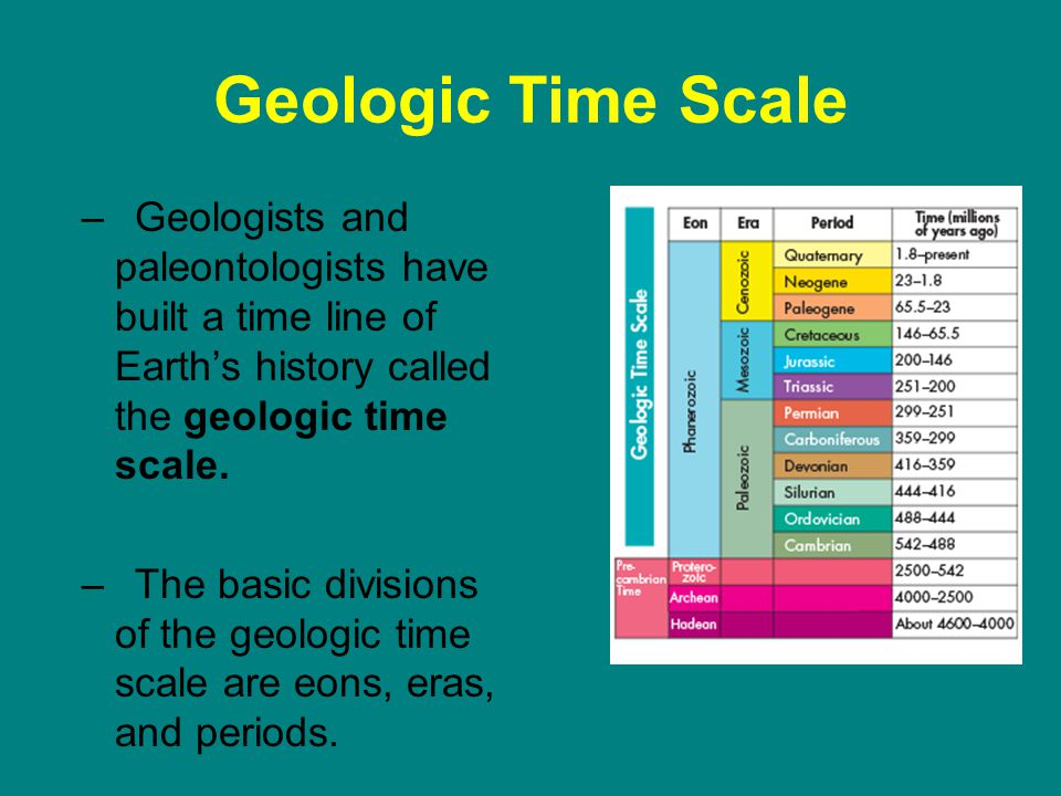 Geologic Time Scale –Geologists and paleontologists have built a time line of Earths history called the geologic time scale.