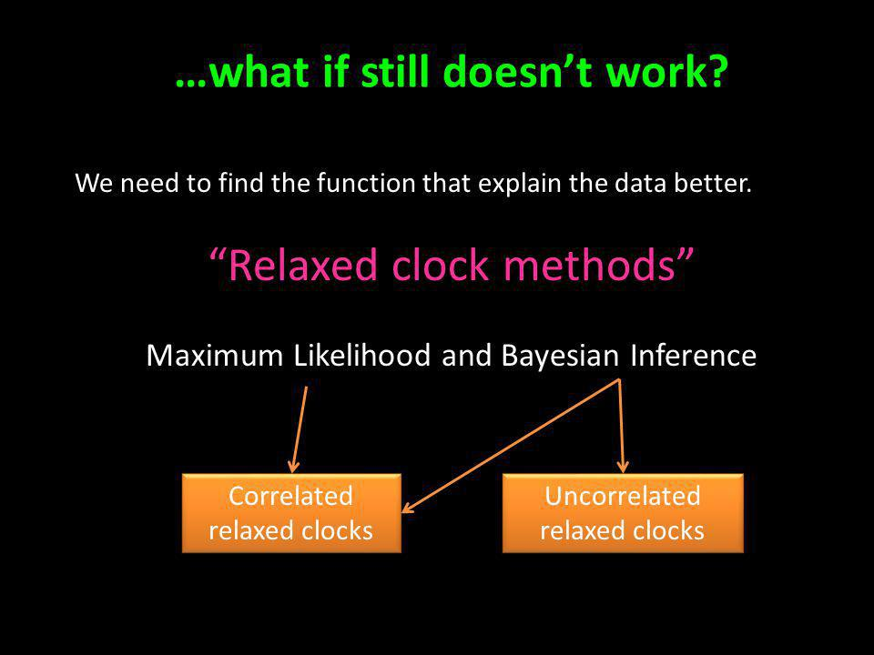 …what if still doesnt work? We need to find the function that explain the data better. Relaxed clock methods Maximum Likelihood and Bayesian Inference