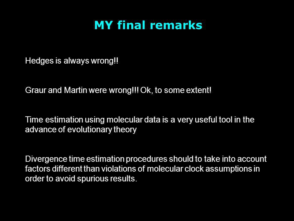 MY final remarks Hedges is always wrong!! Graur and Martin were wrong!!! Ok, to some extent! Time estimation using molecular data is a very useful too