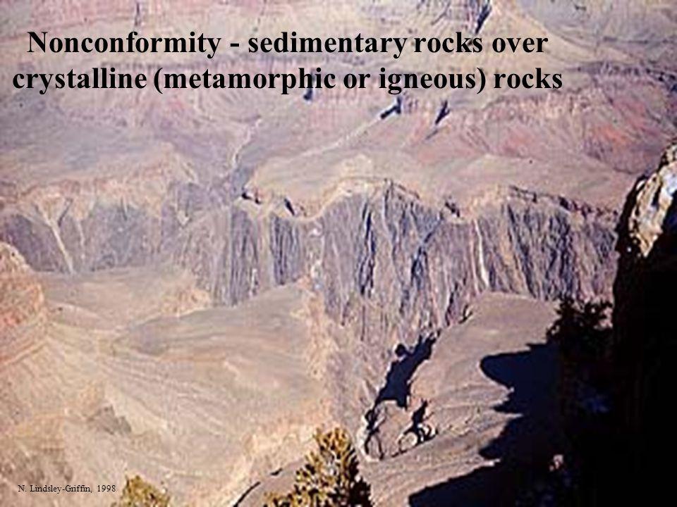 Nonconformity - sedimentary rocks over crystalline (metamorphic or igneous) rocks N. Lindsley-Griffin, 1998