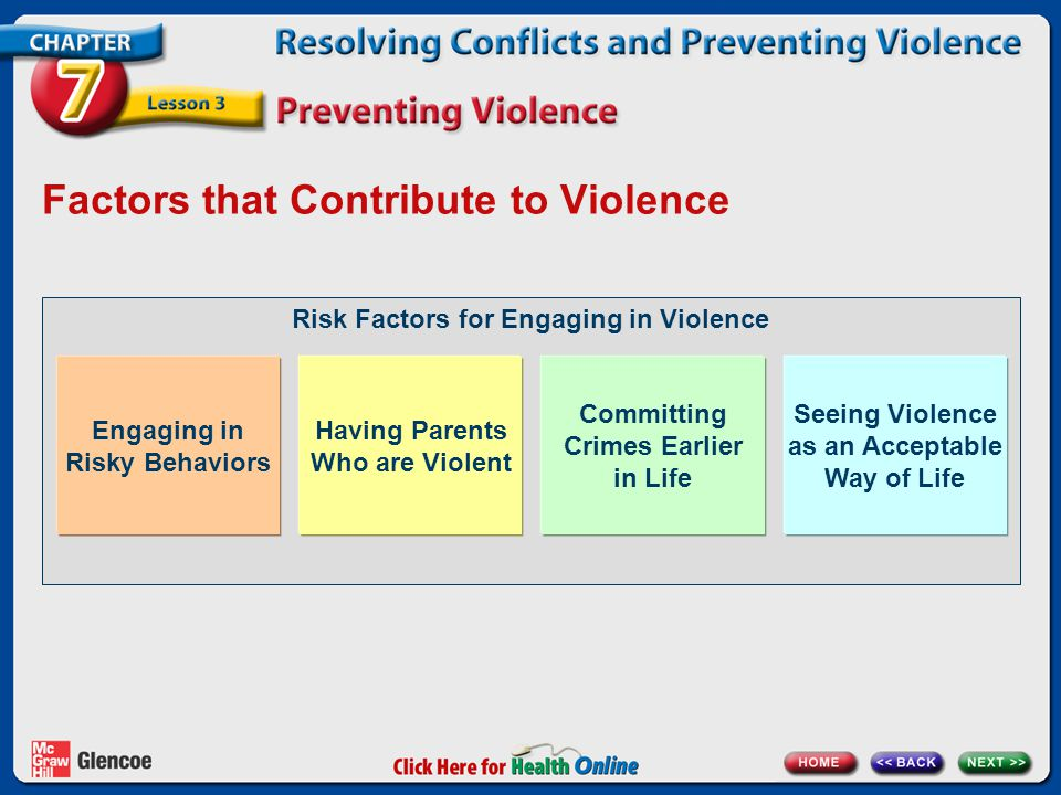 Risk Factors for Engaging in Violence Factors that Contribute to Violence Engaging in Risky Behaviors Having Parents Who are Violent Committing Crimes