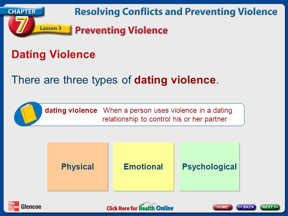 Dating Violence There are three types of dating violence. dating violence When a person uses violence in a dating relationship to control his or her p