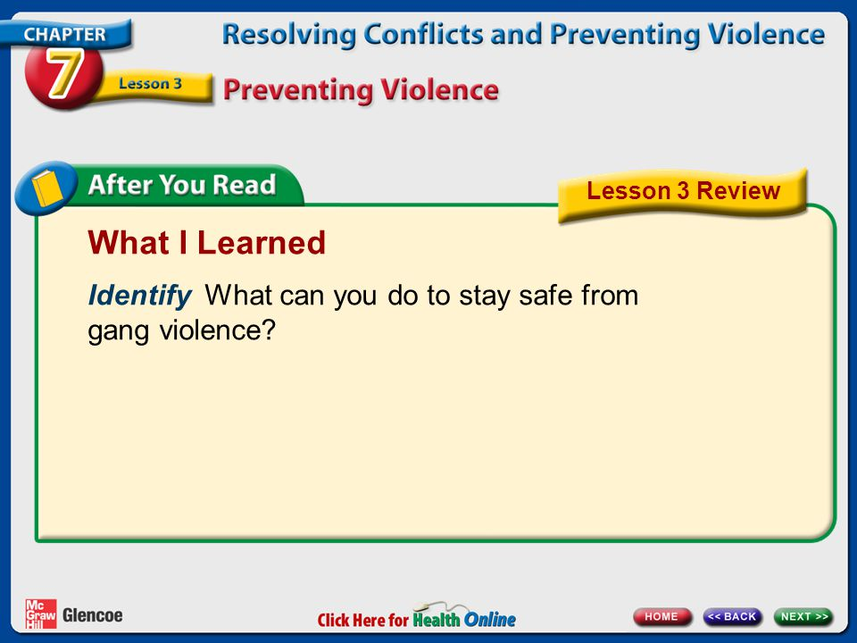 What I Learned Identify What can you do to stay safe from gang violence? Lesson 3 Review