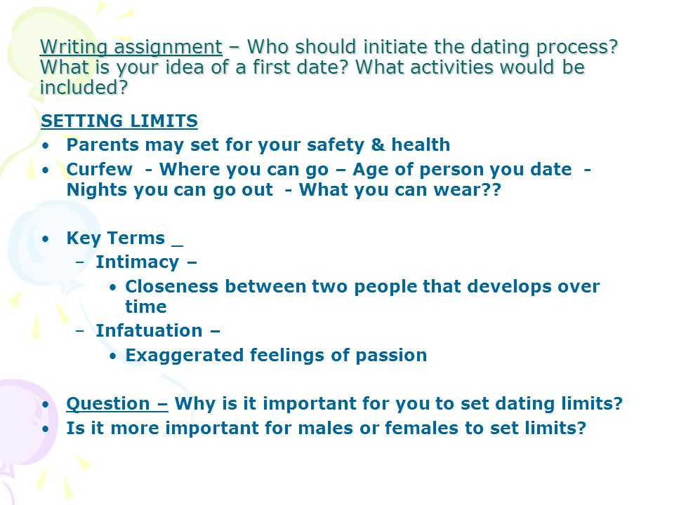 Writing assignment – Who should initiate the dating process? What is your idea of a first date? What activities would be included? SETTING LIMITS Pare
