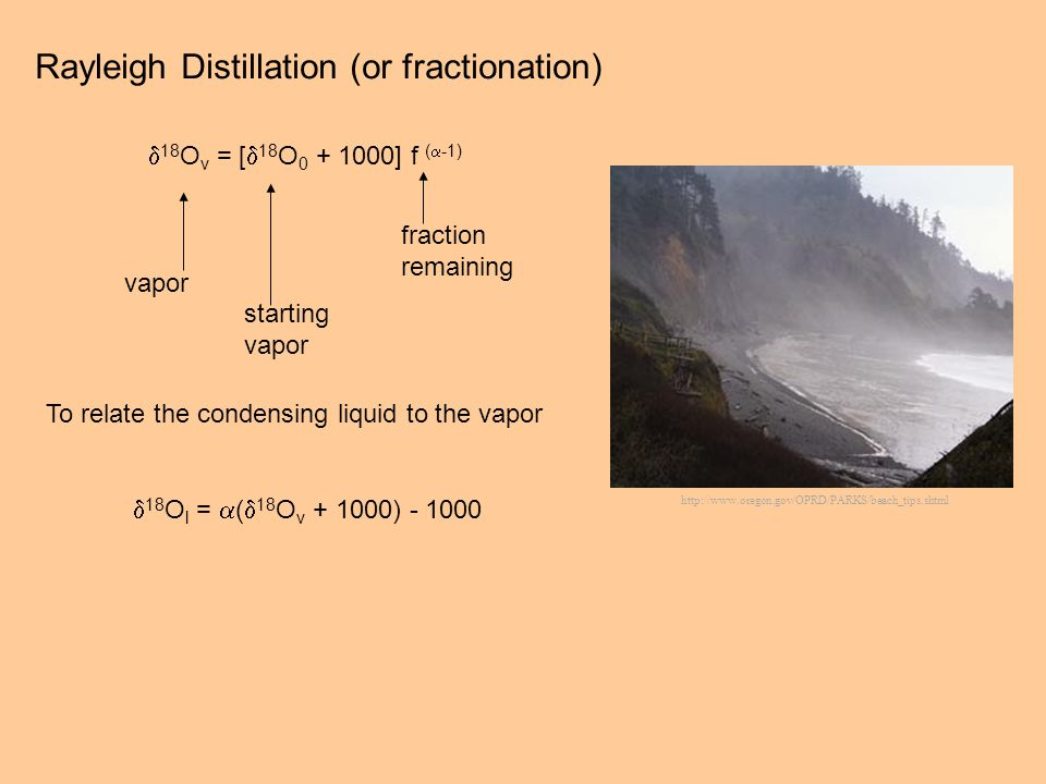 Rayleigh Distillation (or fractionation) 18 O v = [ 18 O 0 + 1000] f ( -1) vapor starting vapor fraction remaining To relate the condensing liquid to the vapor 18 O l = ( 18 O v + 1000) - 1000 http://www.oregon.gov/OPRD/PARKS/beach_tips.shtml