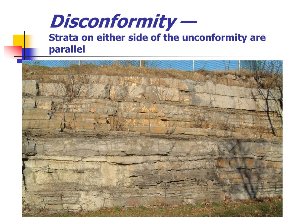 Disconformity Strata on either side of the unconformity are parallel