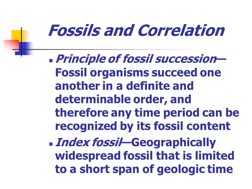 Fossils and Correlation Principle of fossil succession Fossil organisms succeed one another in a definite and determinable order, and therefore any ti