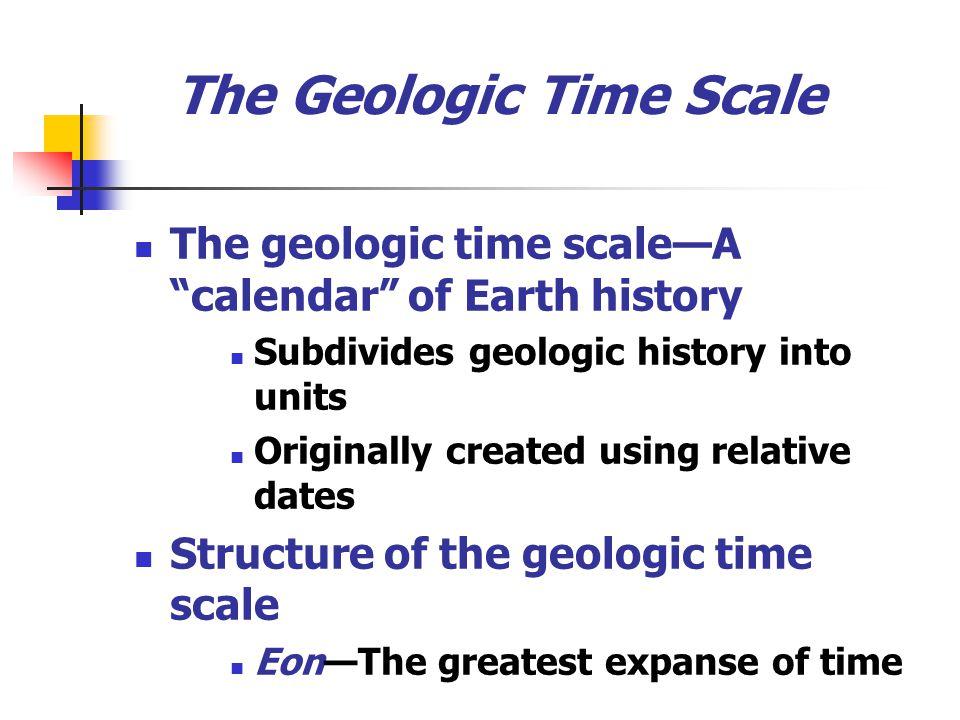 The Geologic Time Scale The geologic time scaleA calendar of Earth history Subdivides geologic history into units Originally created using relative da