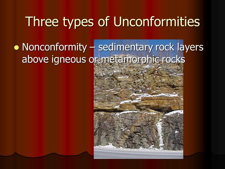 Three types of Unconformities Nonconformity – sedimentary rock layers above igneous or metamorphic rocks Nonconformity – sedimentary rock layers above