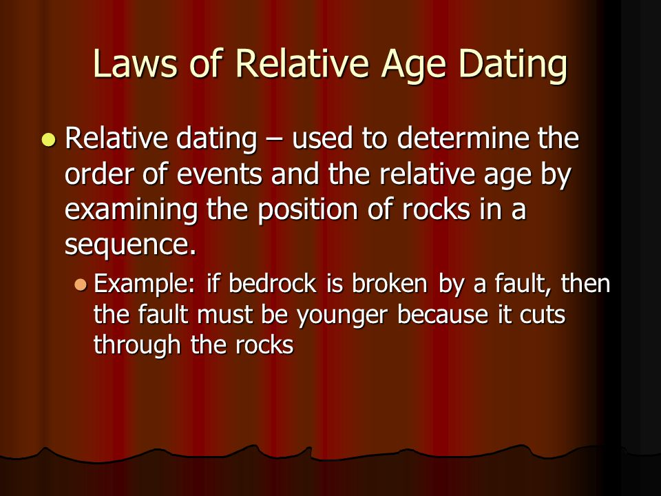 Laws of Relative Age Dating Relative dating – used to determine the order of events and the relative age by examining the position of rocks in a seque