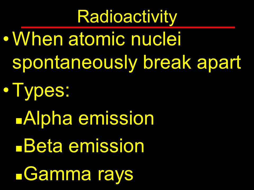 Radioactivity When atomic nuclei spontaneously break apart Types: Alpha emission Beta emission Gamma rays