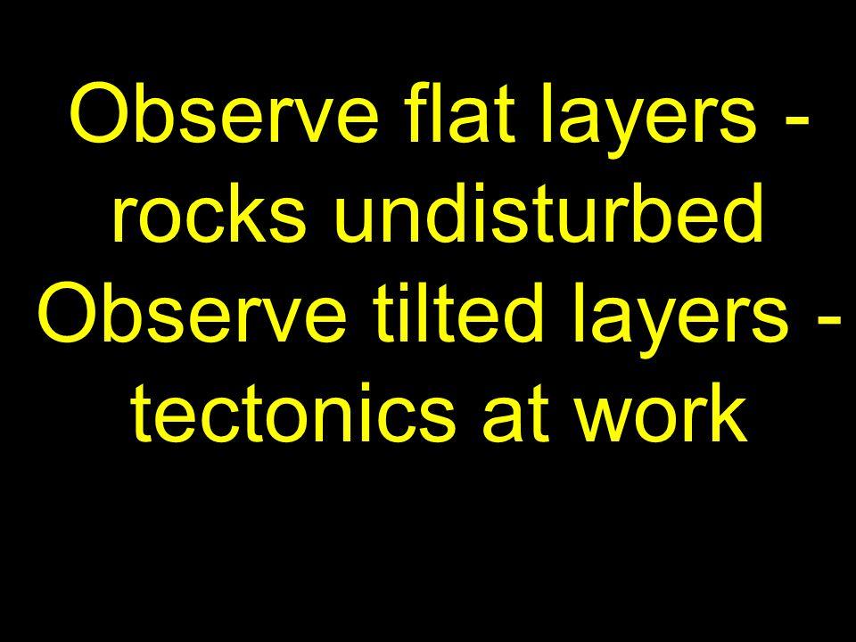 Observe flat layers - rocks undisturbed Observe tilted layers - tectonics at work