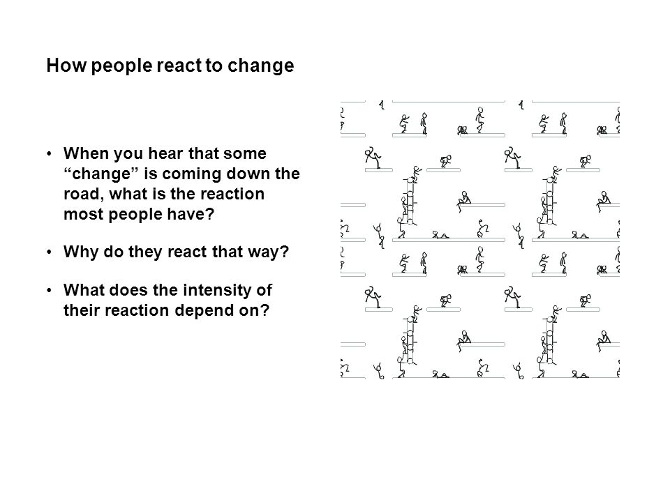 How people react to change When you hear that some change is coming down the road, what is the reaction most people have? Why do they react that way?