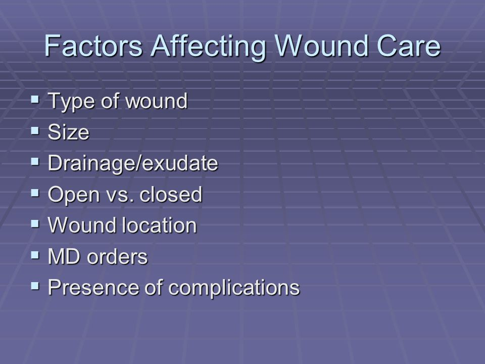 Factors Affecting Wound Care Type of wound Type of wound Size Size Drainage/exudate Drainage/exudate Open vs. closed Open vs. closed Wound location Wo