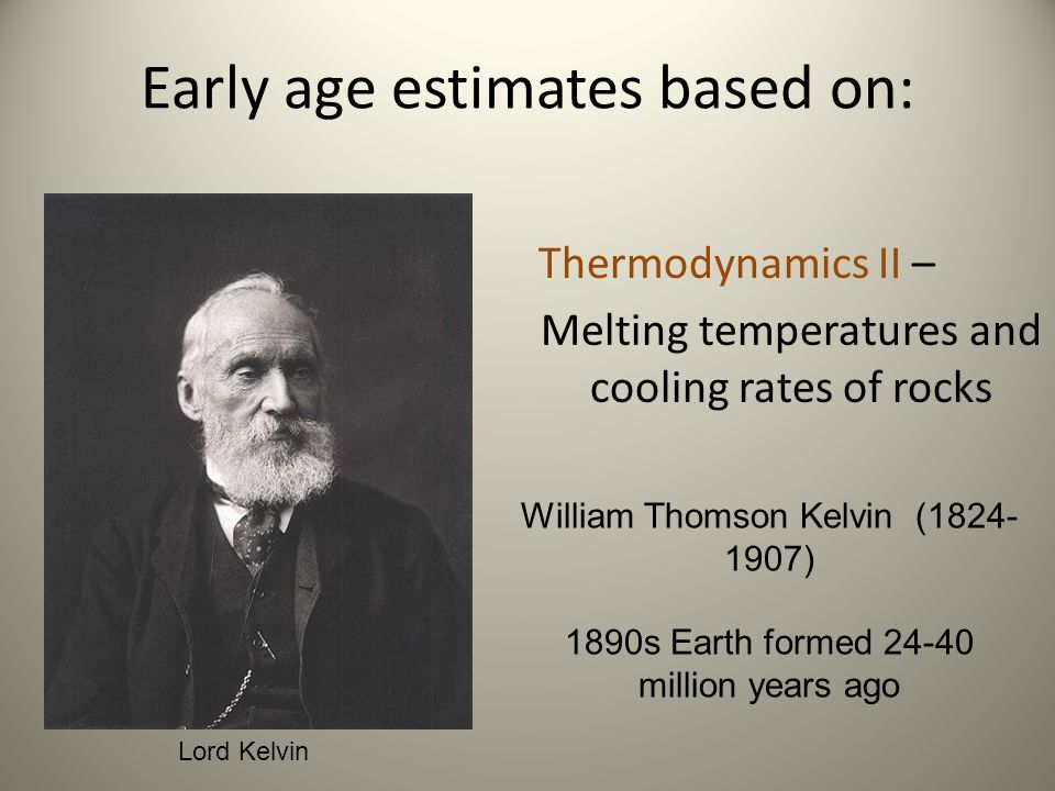 Early age estimates based on: Thermodynamics II – Melting temperatures and cooling rates of rocks William Thomson Kelvin (1824- 1907) 1890s Earth form