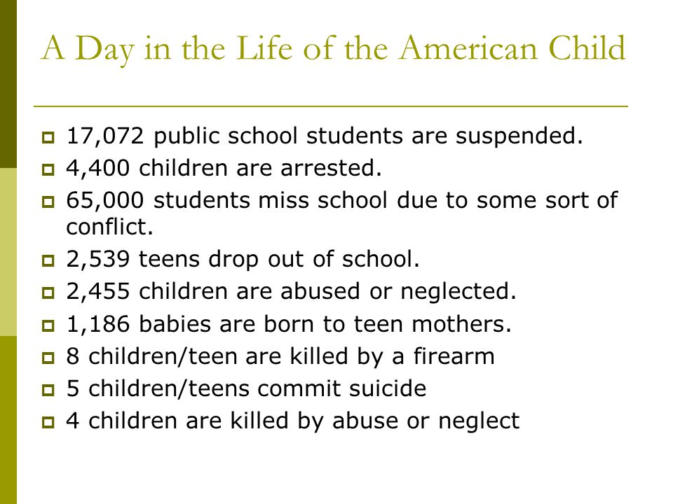 A Day in the Life of the American Child 17,072 public school students are suspended. 4,400 children are arrested. 65,000 students miss school due to s