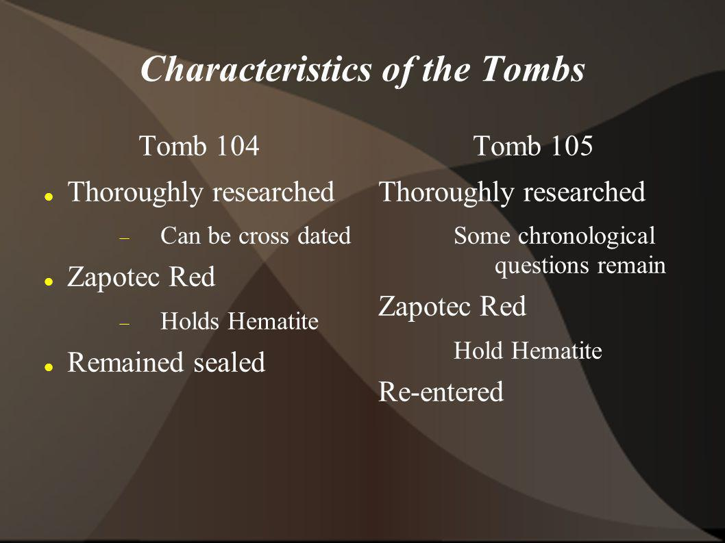 Characteristics of the Tombs Tomb 104 Thoroughly researched Can be cross dated Zapotec Red Holds Hematite Remained sealed Tomb 105 Thoroughly researched Some chronological questions remain Zapotec Red Hold Hematite Re-entered