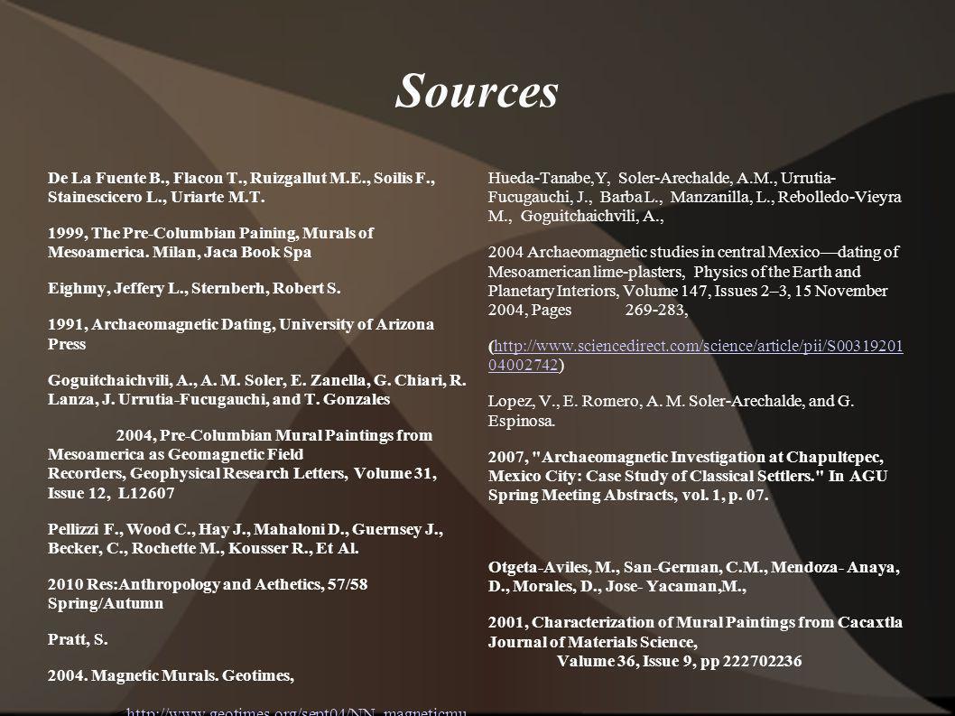 Sources De La Fuente B., Flacon T., Ruizgallut M.E., Soilis F., Stainescicero L., Uriarte M.T. 1999, The Pre-Columbian Paining, Murals of Mesoamerica.