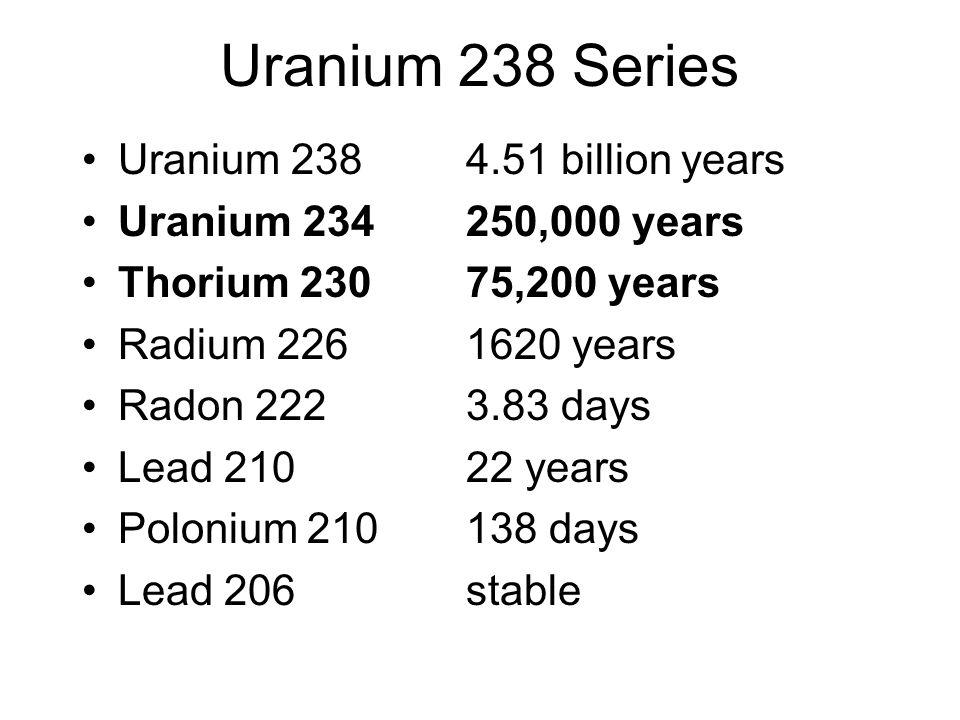 Uranium 238 Series Uranium 238 4.51 billion years Uranium 234 250,000 years Thorium 230 75,200 years Radium 226 1620 years Radon 222 3.83 days Lead 210 22 years Polonium 210 138 days Lead 206 stable