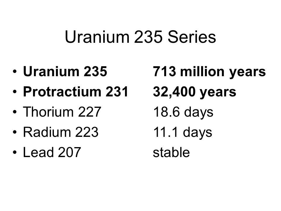 Uranium 235 Series Uranium 235 713 million years Protractium 231 32,400 years Thorium 227 18.6 days Radium 223 11.1 days Lead 207 stable