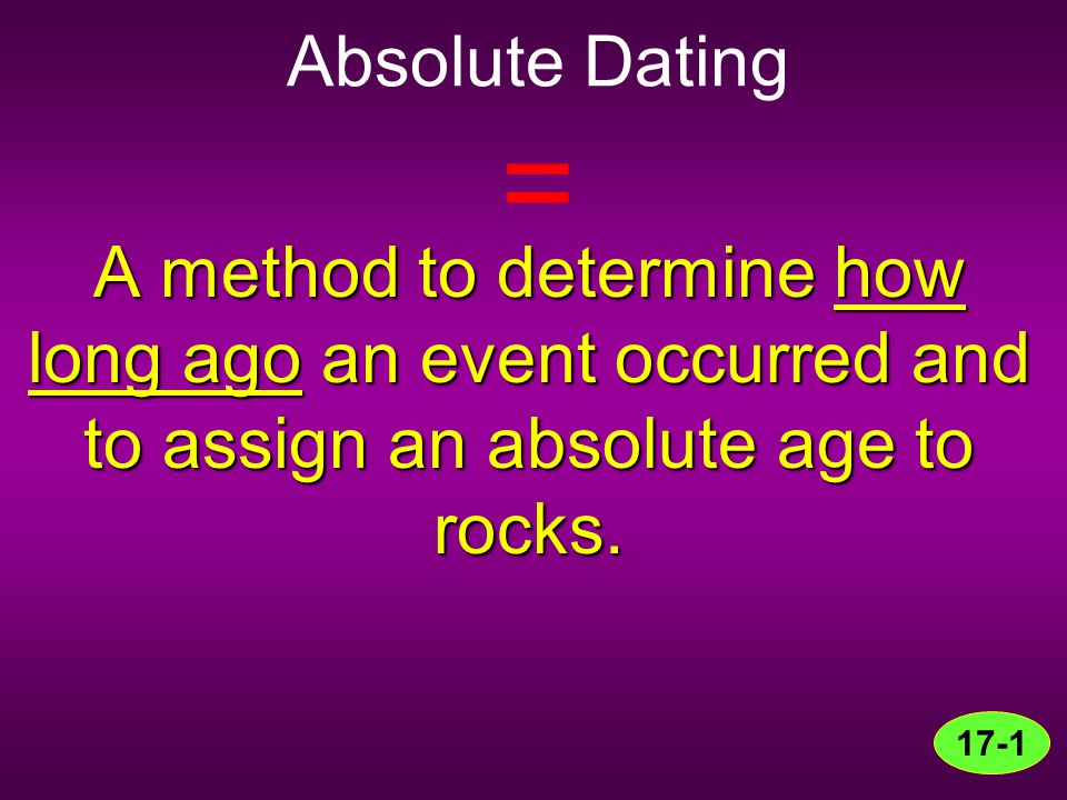Absolute Dating = A method to determine how long ago an event occurred and to assign an absolute age to rocks. 17-1