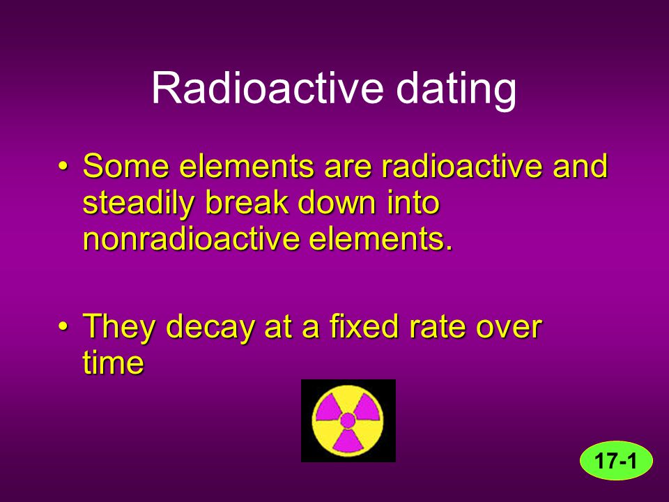 Radioactive dating Some elements are radioactive and steadily break down into nonradioactive elements.Some elements are radioactive and steadily break