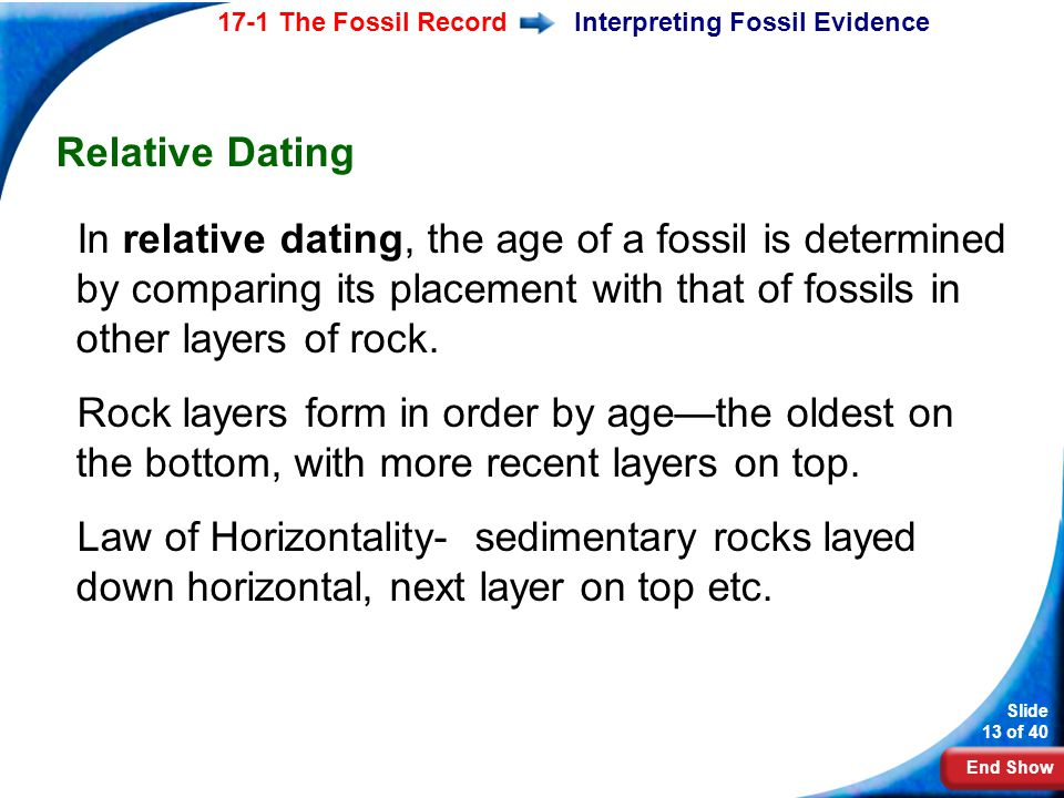 End Show Slide 13 of 40 17-1 The Fossil RecordInterpreting Fossil Evidence Relative Dating In relative dating, the age of a fossil is determined by co
