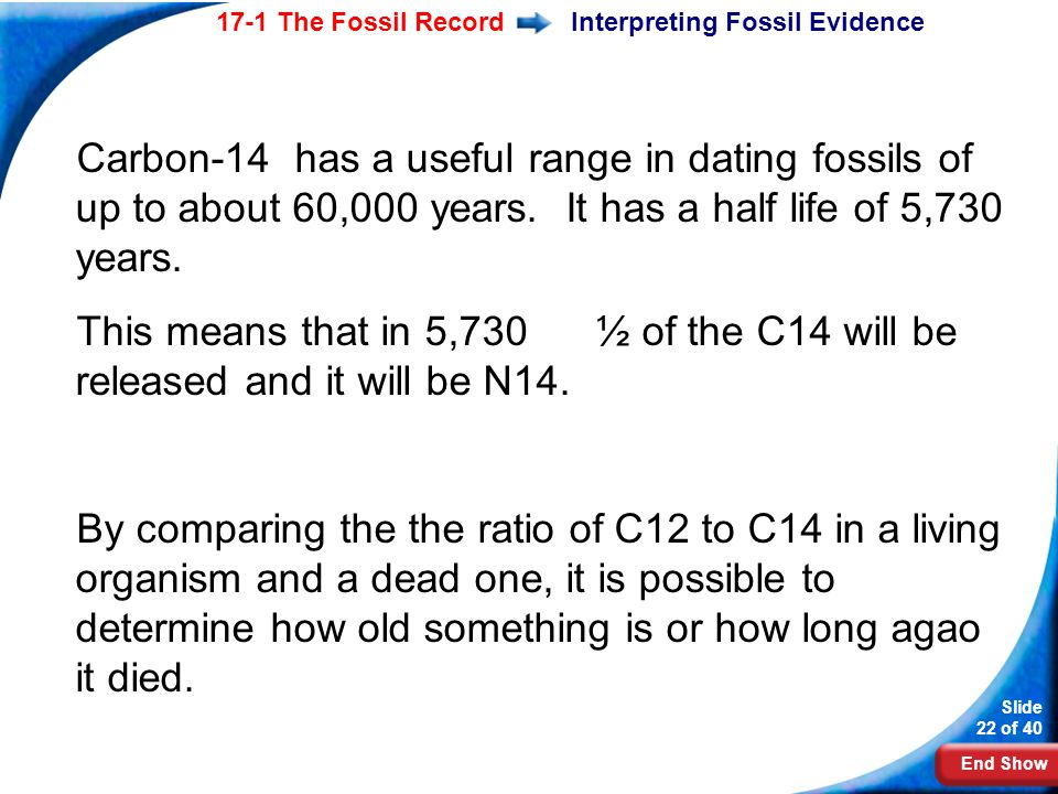 End Show Slide 22 of 40 17-1 The Fossil RecordInterpreting Fossil Evidence Carbon-14 has a useful range in dating fossils of up to about 60,000 years.