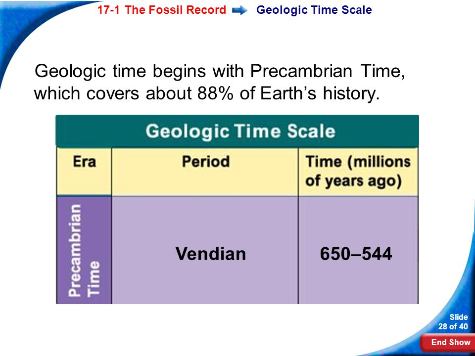 End Show Slide 28 of 40 17-1 The Fossil RecordGeologic Time Scale Geologic time begins with Precambrian Time, which covers about 88% of Earths history
