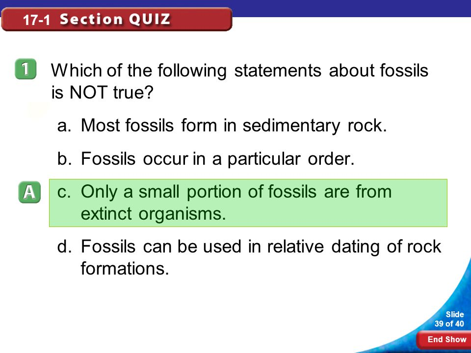 End Show Slide 39 of 40 17-1 Which of the following statements about fossils is NOT true? a.Most fossils form in sedimentary rock. b.Fossils occur in