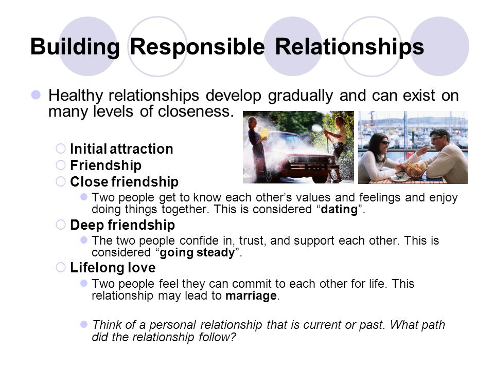Building Responsible Relationships Healthy relationships develop gradually and can exist on many levels of closeness. Initial attraction Friendship Cl